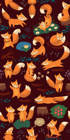 Funny seamless pattern with a cute little foxes