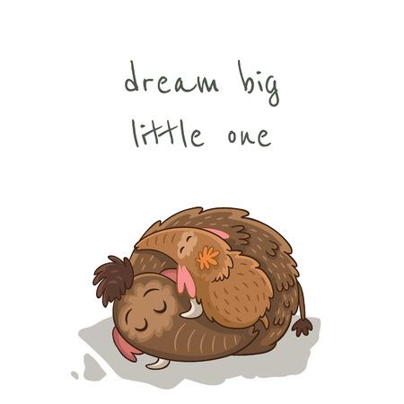little one: Sue�a en grande peque�o. Hermosa tarjeta con los mamuts de dibujos animados Vectores