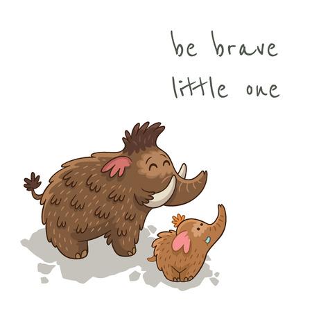little one: S� poco valiente. Hermosa tarjeta con los mamuts de dibujos animados