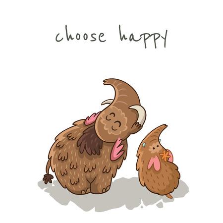 tusks: Choose happy. Beautiful card with cartoon mammoths Illustration