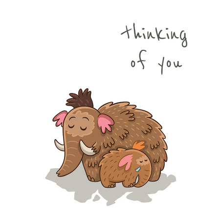 thinking of you: Thinking of you. Beautiful card with cartoon mammoths