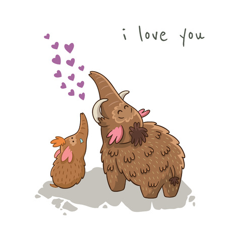 I love you. Beautiful card with cartoon mammoths