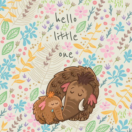 ���little one���: Colorful floral card with cartoon mammoth. Hello little one. Flower vector background