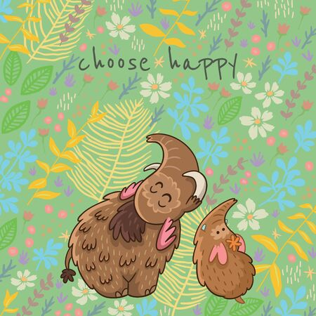 Colorful floral card with cartoon mammoth. Choose happy. Flower vector background Çizim