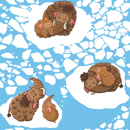 Stylish childish seamless pattern with mammoths in vector