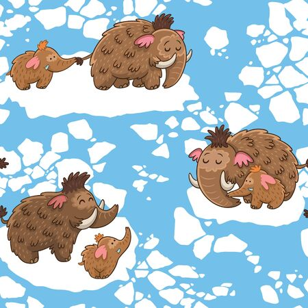 Baby seamless pattern with mammoths in vector