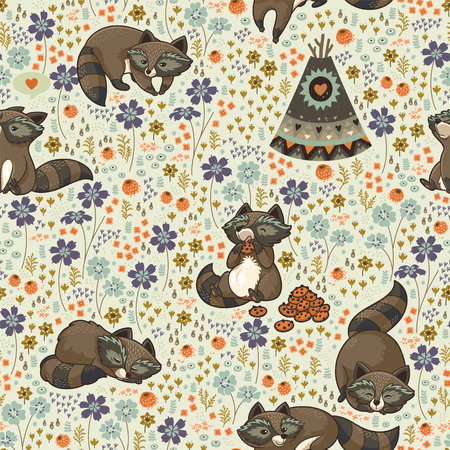 native american baby: Family of wild raccoons resting on the meadow. Illustration
