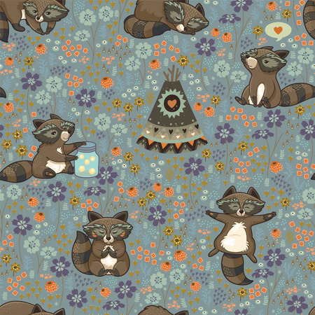 Family of wild raccoons resting on the meadow. 向量圖像