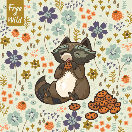 北欧風の花のカードです。ベクトル図 写真素材 - 39585949