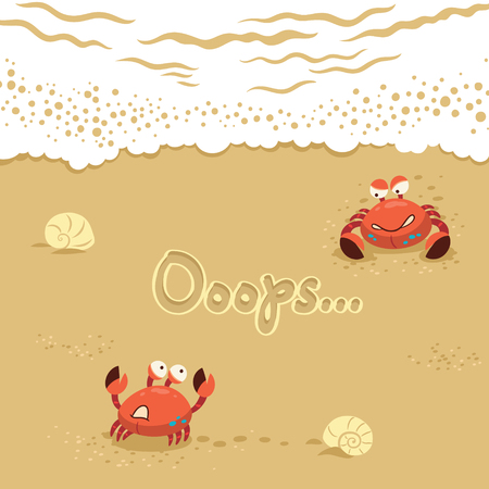 Funny summer card with crabs. Traver concept postcard