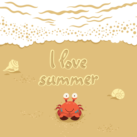Funny summer card with crab. Traver concept postcard Çizim