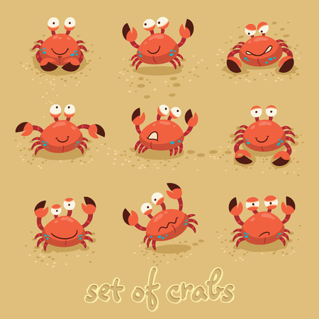 humour: Illustration of a set of cartoon crab characters with various expressions and emotions