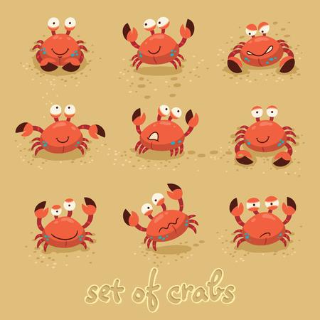cangrejo caricatura: Ilustración de un conjunto de personajes de dibujos animados de cangrejo con diversas expresiones y emociones Vectores