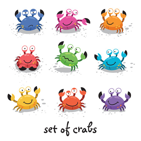Illustration of a set of cartoon colorful crab characters with various expressions and emotions Vectores