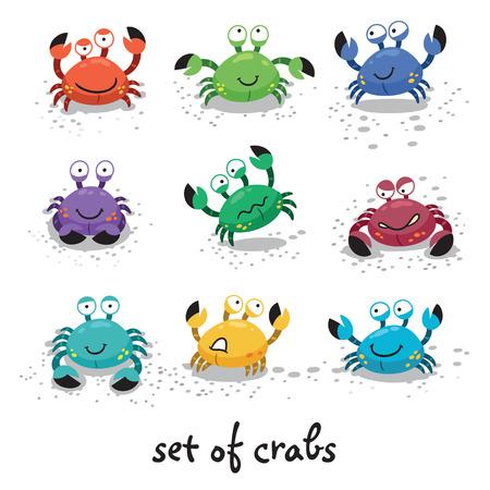 様々 な表現や感情を持つキャラクターをカラフルなカニのセットのイラスト 写真素材 - 40449651