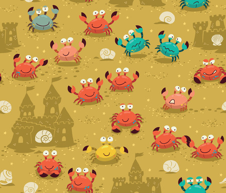 Illustration endless background with crabs. Vector backdrop