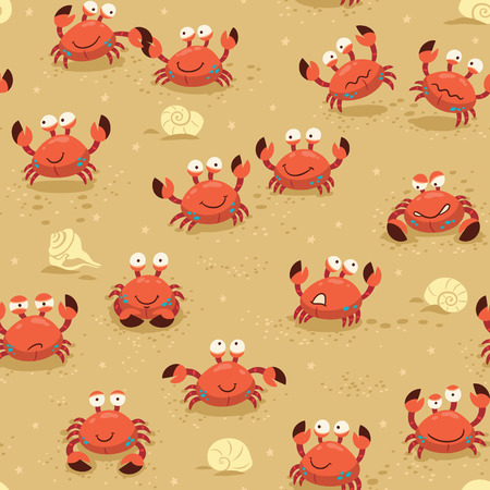 crab cartoon: llustration endless background with crabs. Vector childish backdrop