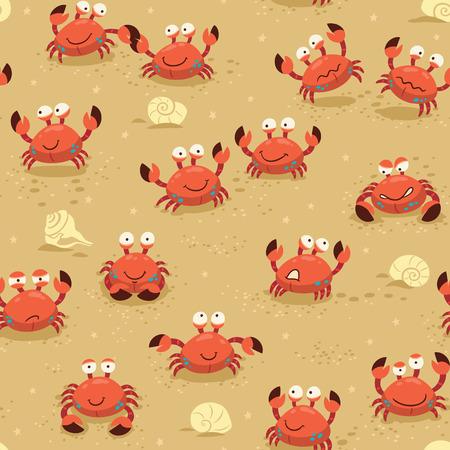 llustration fond sans fin avec des crabes. Vector puérile toile de fond Vecteurs