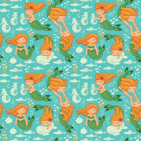 水中の漫画の世界。子供の壁紙のシームレスなパターン ベクトル 写真素材 - 40630476