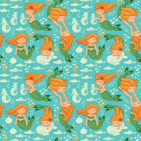mermaid: Underwater cartoon world. Vector seamless pattern for childrens wallpapers