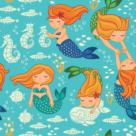 swimming silhouette: Underwater cartoon world. Vector seamless pattern for childrens wallpapers