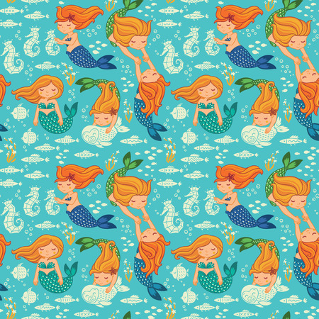 Underwater cartoon world. Vector seamless pattern for childrens wallpapers