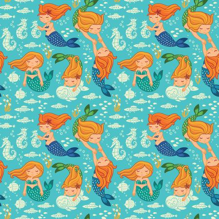 mermaid: Underwater cartoon world. Vector seamless pattern for childrens wallpapers