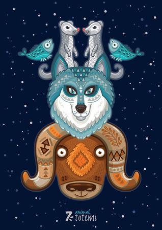 Hand drawn decorative cartoon totem with animals 向量圖像