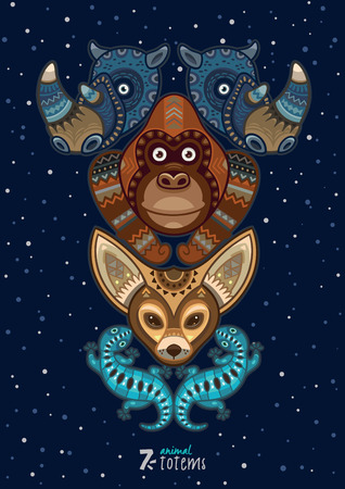 Hand drawn decorative cartoon totem with animals Stock Illustratie