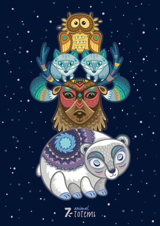 Hand drawn decorative cartoon totem with animals Illustration