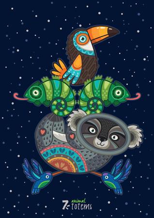 native american art: Hand drawn decorative cartoon totem with animals Illustration