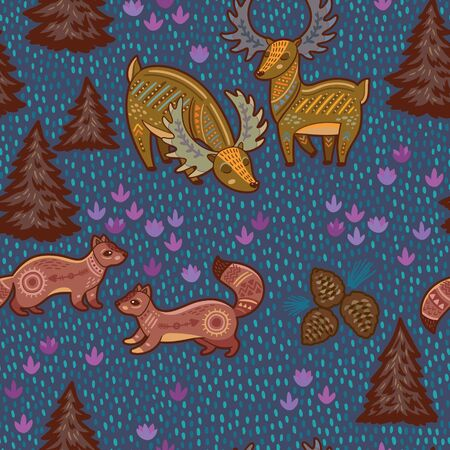 sable: Cute ornamental animals in the forest. Cartoon night wallpaper.