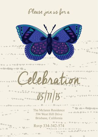 butterfly in hand: Vector party invitation with butterfly. Hand drawn vector illustration