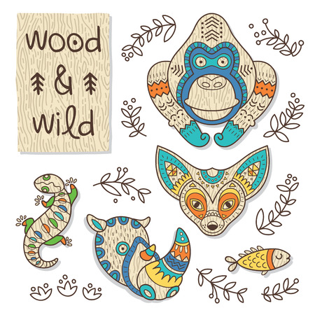 wooden toy: Vector organic wooden toy.  Gorilla, gecko, fenech, rhino and fish in vector Illustration
