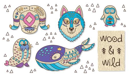 huskies: Org�nica juguete de madera del vector. Buey almizclero, perros esquimales, ping�inos, morsas y cachalote en el vector Vectores