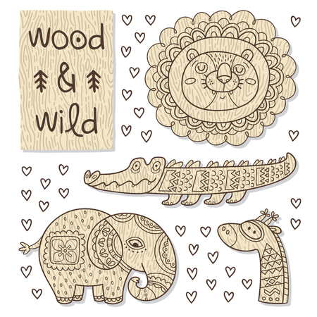 wooden toy: Vector organic wooden toy. Lion, crocodile, elephant and giraffe in vector