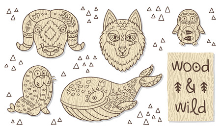 Vector organic wooden toy.  Musk ox, huskies, penguin, walrus and cachalot in vector