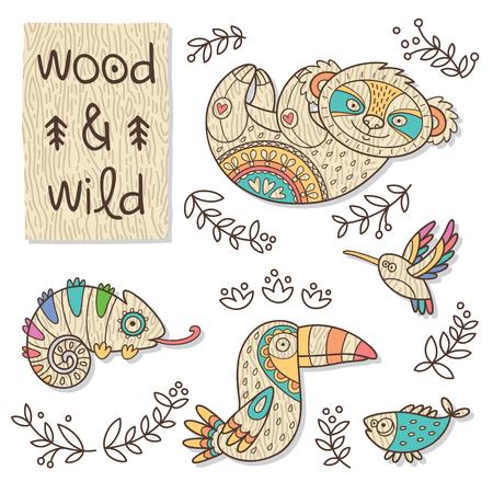 chameleons: Vector organic wooden toy. Koala, hummingbird, toucan, chameleon and fish in vector Illustration