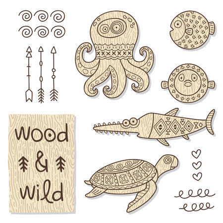 wooden toy: Vector organic wooden toy. Octopus, turtles, sawfish in vector