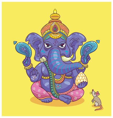 Vector illustration of an Indian god - Ganesha