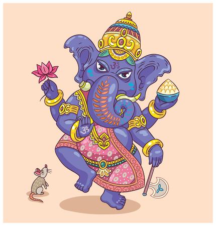 siluetas de elefantes: Ilustración vectorial de un dios hindú - Ganesha