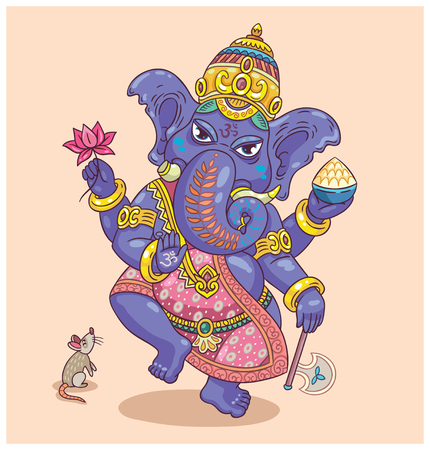 indian animal: Vector illustration of an Indian god - Ganesha