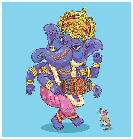 hindu god shiva: Vector illustration of an Indian god - Ganesha