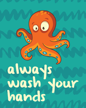 Kids bathroom poster with text Always wash your hands. Vector background