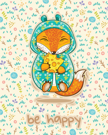 fox: Be happy card with lucky fox, slice of cheese and flowers in cartoon style. Vector illustrtaion. Bright colored concept card with text in vector