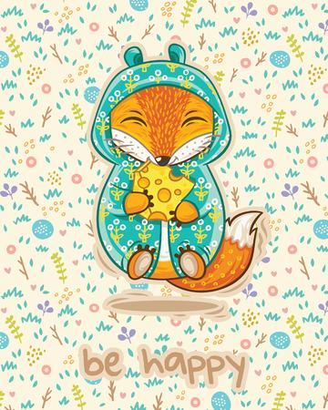 zorro: Sea tarjeta feliz con el zorro suerte, rebanada de queso y flores en estilo de dibujos animados. Vector illustrtaion. Brillante tarjeta concepto de color con el texto en el vector