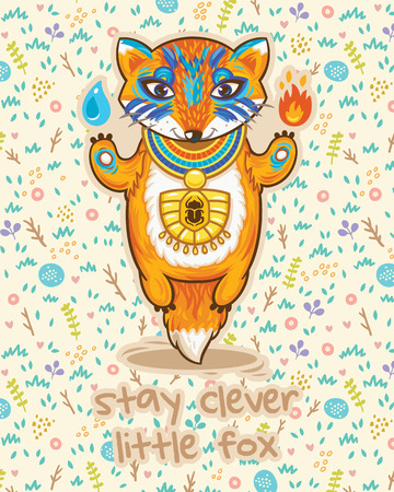 Stay clever card with little fox and flowers in cartoon style. Vector illustrtaion. Bright colored concept card with text in vector Çizim