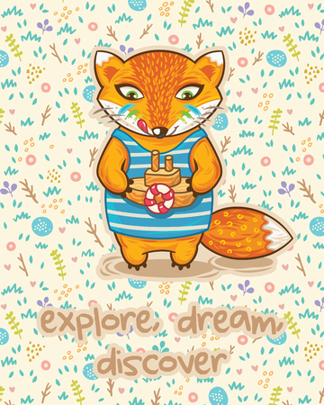 wooden toy: Explore dream discover card with little fox, wooden toy and flowers in cartoon style. Vector illustrtaion. Bright colored concept card with text in vector