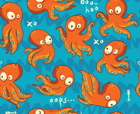 octopus: Vector octopus background in blue and orange colors Illustration