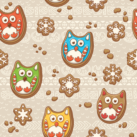 spicecake: Vector seamless background with Christmas gingerbread cookies owls Illustration